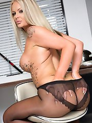 Porn babe Roxi in some sexy black pantyhose with a super cute ultra sheer heart section on her ass!