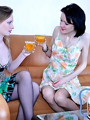 Romantic evening ends up with a lez workout for hot lesbos in soft tights