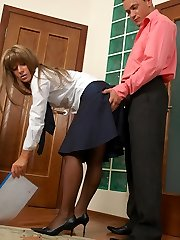 Hot babe in sheer-to-waist hose having fun luring co-worker into manmeat-break