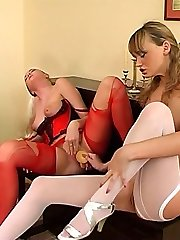 Lewd sappho getting several cut-offs in her red stockings after girl/girl sex