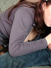 Lewd lover tasting pantyhose clad feet while stuffing his rod into hot muff
