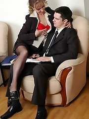 Utterly sexy secretary getting her pantyhose clad feet licked fervently