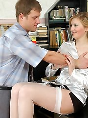 Sweetheart in white pantyhose with lacy garter belt getting ultra-kinky in the office