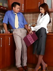 Doll-encountered secretary in manage top tights fucking like hell on the floor