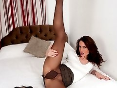 Brunette Tammy in black pantyhose fetish fun!