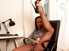 Secretary Marlyn is dressed to impress, especially her sexy lacy top glossy pantyhose