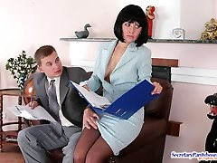 Horny secretary in silky pantyhose prefers cock-riding to boring discussion