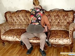 Man Rod-hungry babe in ebony pantyhose sucking and fucking in MMF group action