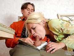 Horny dude reassuring cutie while tenderly kneading her tights clad pink