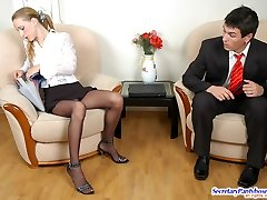 Nasty assistant getting cumshot right into her dark-hued sheer-to-waist tights