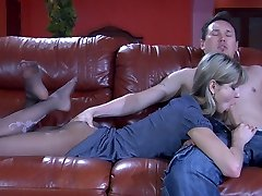 Yummy girl gets her appetizing nyloned feet licked for a footjob and pussy tear up