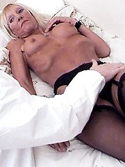 Horny grandma Kay bares it all to show off her wrinkled ass and sagged tits while a guy pounds...