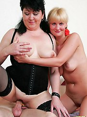 Fancy nubile blonde and her horny boyfriend taking a nasty sex lesson from plump mature lady