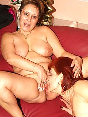 Mature ladies Steph and Jullianna both get naked and slurp each others old cooters in this...