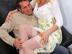 Blonde wife slides her shaved pussy on a strange dick