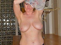 Busty mature amateur Jade Wilson spreads her ass.