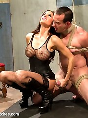 Mistress Gia Dimarco is pure sex and evil in this intense dungeon scene! Long time Divine Bitch slave, Jason Miller comes back to test his limits again after long hiatus. Mistress Dimarco goes from 0 to 60 within seconds of this kinky scene. Tough suspension bondage, water torture, caning, chastity, ass worship, tease and denial, strap-on ass fucking in suspension bondage and more!