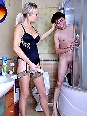 Armed with a strapon rod babe using her poor naked lover like a dirty whore
