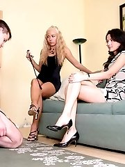 Mistresses have now mercy punishing slave for being careless pouring champagne
