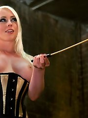 Lorelei Lee penetrates her slave fellows ass then makes him sweep up!