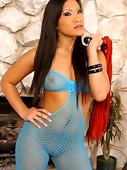 Japanese dominatrix Mistress Christina Aguchi disciplines her insolent malesub with her crop