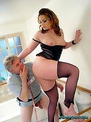 Perverted David - Hot Femdom Babes Dominate Old Poor Guy!