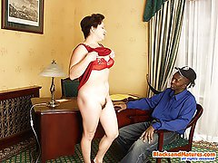 Horny white milf jumps on huge black pecker