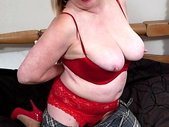 blonde mature tramp playing with herself