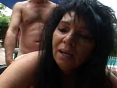 Dirty lustful grandmother in mad banging thrill by the pool