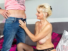 Horny housewife playing with her horny toy stud