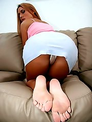Sexy blonde flashes her white panties and tight round ass