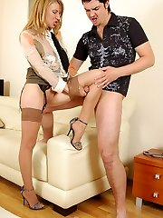 Seductive chick in lace-top stockings aching to get fucked in doggystyle