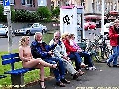 Janka have fun in public streets