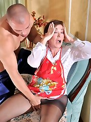 Mature housemaid in control top pantyhose servicing her cock-strong master