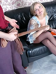 Hot blondie switching her torn pantyhose while revealing her pounding skills