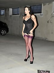 Just imagine parking your camper in this dirty, seedy camper park and then your headlights illuminate Nylon Jane! And she's just standing there showing off her wonderful gams and nylons and teasing you with her wonderful lingerie