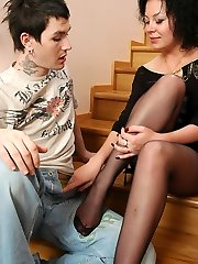 Epic babe gets a sticky present on her feet clad in soft silky tights