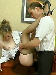 Lusty chick co-worker getting silky pantyhose pushed into her meaty pussy