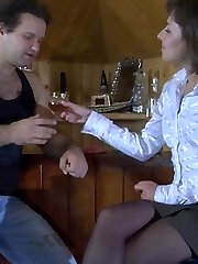 Sex-crazy babe in lacy black stockings hikes up her skirt for cock invasion