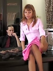 Smashing secretary showing her boss some tricks with soft velvety pantyhose