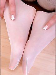Cute Celina in white sheer stockings