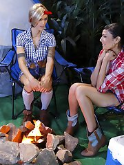 Beretta James and TS Nina Lawless are camping at Beaver Falls. Bundled up and cozy, they decide to tell ghost stories at the camp fire. They spook themselves and decide to go to bed early. While Beretta is getting ready for bed, she peeks over and sees that her hot, lean friend, Nina Lawless, is getting naked and going to sleep. Beretta starts to masturbate. Her moans of pleasure are confused as ghosts moaning to the already paranoid camper, Nina. Nina rushes over to Beretta's tend for comfort. She is comforted with a nice warm mouth around her cock. Nina seduces Beretta even further, She licks her asshole and pussy then fucks her good and hard in her pussy and her ass.