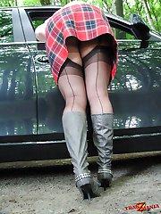 Crossdresser slut wearing nylons and bending over
