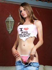 Sweet tgirl hottie posing her extra long cock