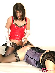Naughy TGirl Kirsty and her two slutty crossdresser girlfriends fuck each other