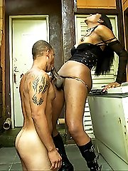 Submissive worships his tranny mistress