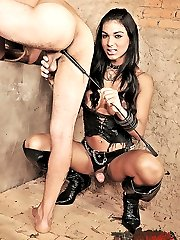 Hung tranny domme controls a submissive