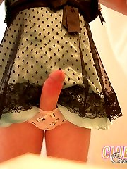 Well hung crossdressers get their hard cocks out just to show off.