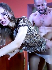 Slim-legged cutie gets groped and boned in her tights by a horny buff man
