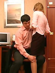 Nasty secretary in control top pantyhose getting her muff pumped in office